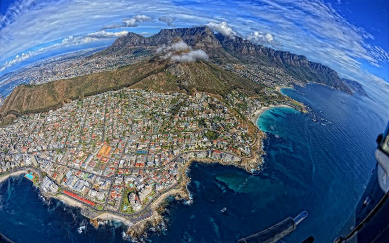Cape Town South Africa Buildings Mountains Aerial Coast wallpaper