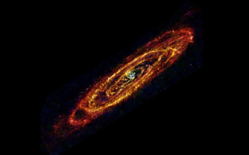 Galaxy Andromeda Infrared Black stars wallpaper