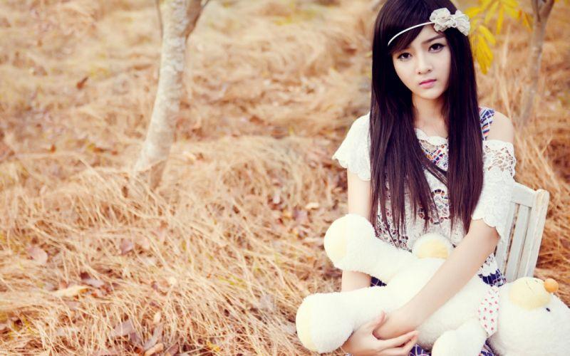 girl asian brunettes eyes ring dress grass toy teddy bear women females wallpaper