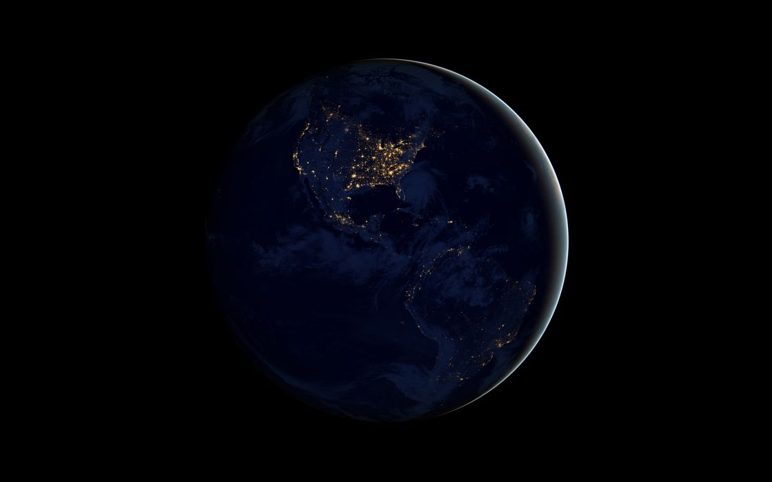 Earth Black Planet Lights Night wallpaper
