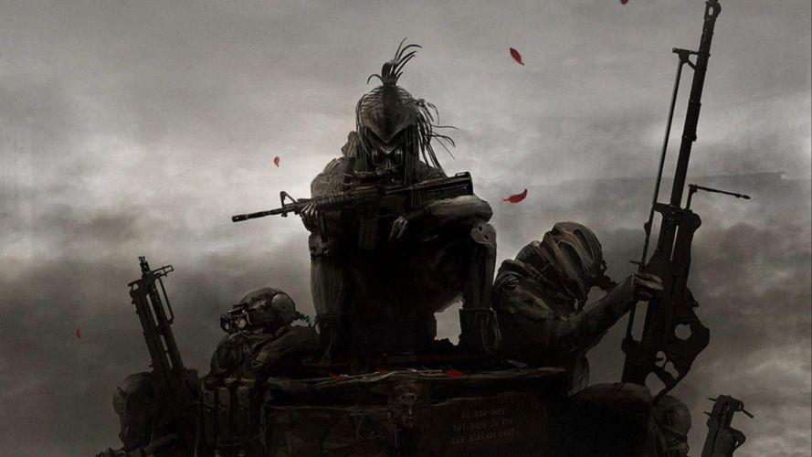 Kai Lim sci-fi warriors weapons guns mask wallpaper
