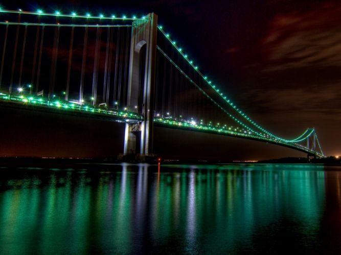 Golden Gate Bridge bridges lights bay reflection wallpaper