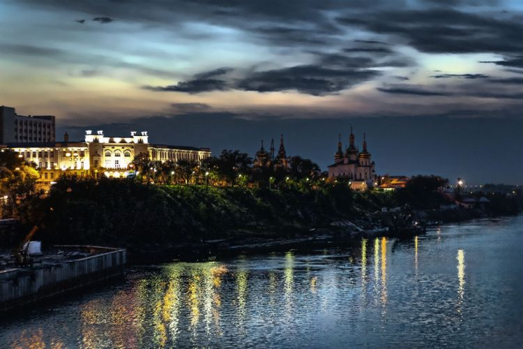 night sunset Tyumen sky cities buildings architecture wallpaper