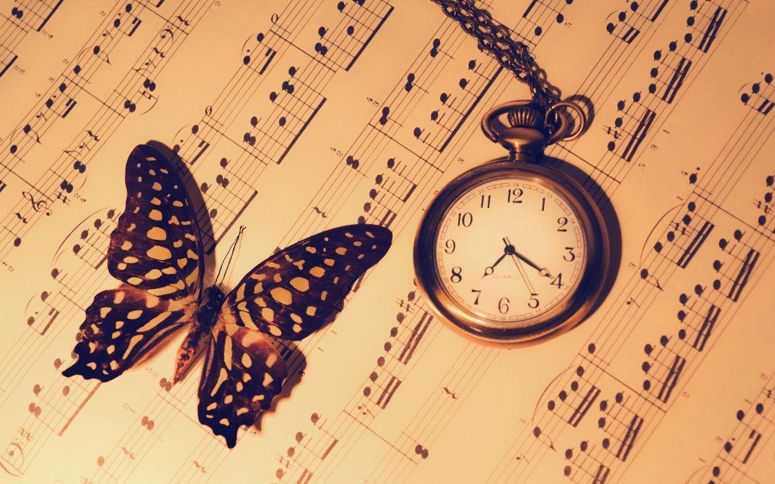 Notes Butterfly Watch Clock Warm bokeh wallpaper