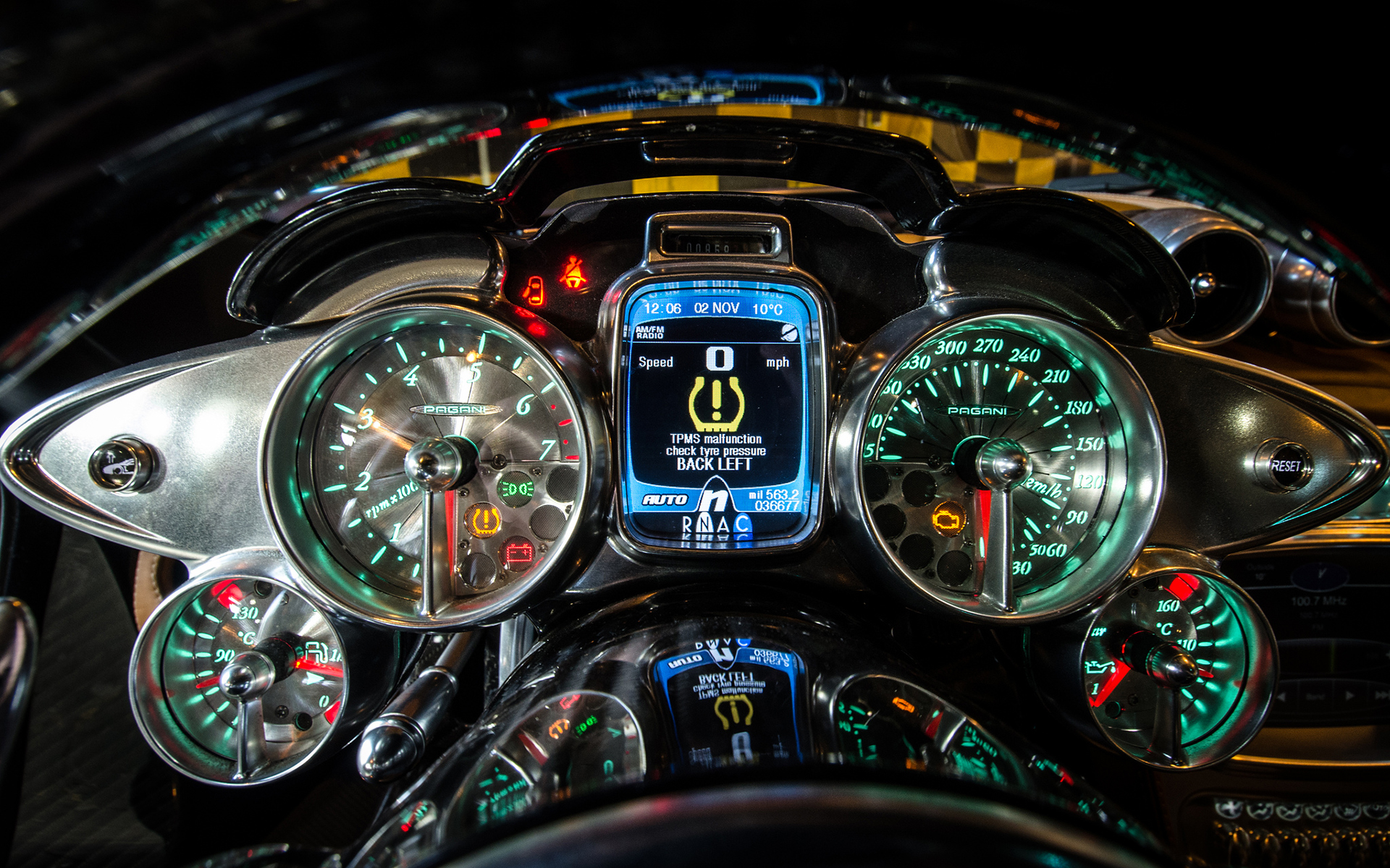 Pagani Huayra Gauges Interior Supercar Dashboard Wallpaper