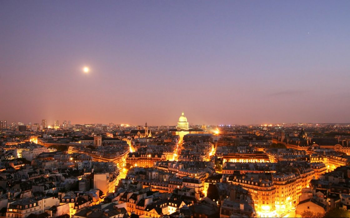 Paris buildings sunset lights wallpaper