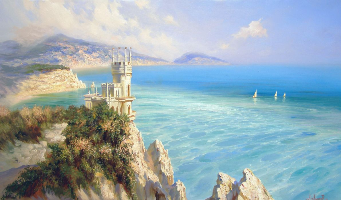 Miliukov Alexander Swallow's Nest castle sea blue space sail mountains rocks crimea landscape buildings wallpaper