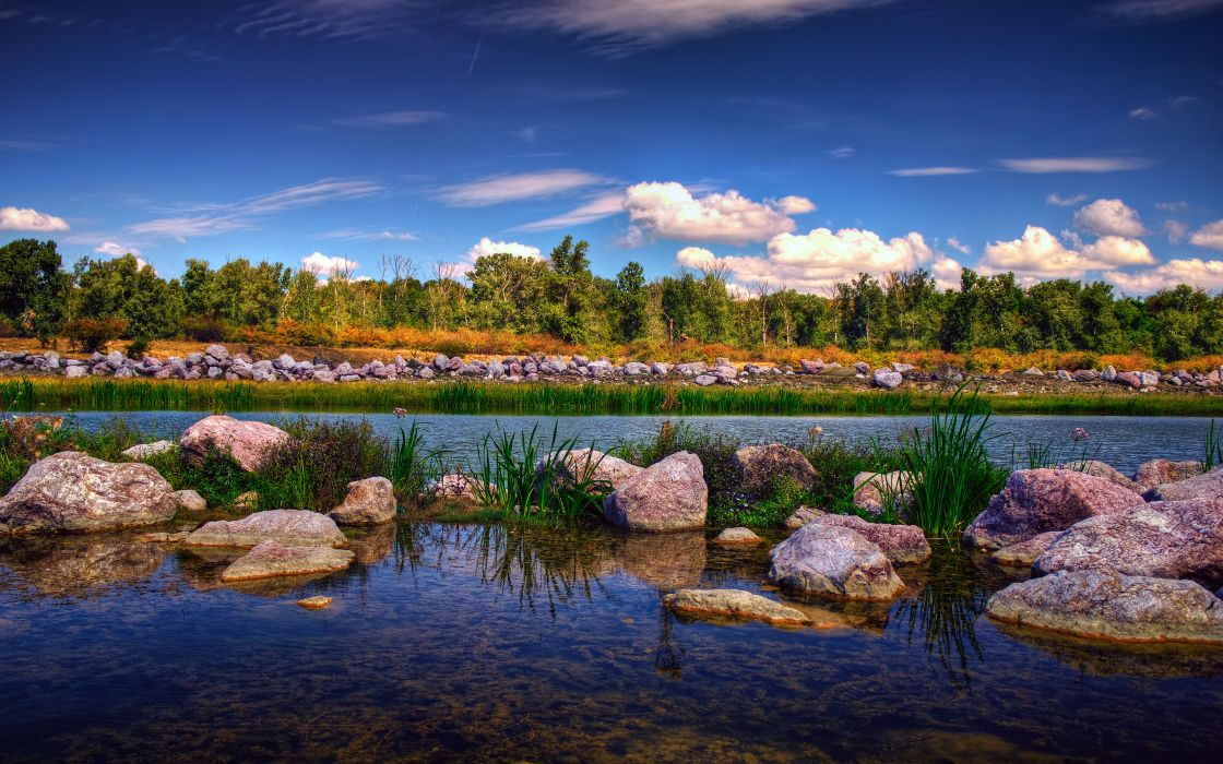 Rocks Stones Lake Trees sky wallpaper