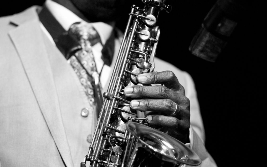 Saxophone black white men males wallpaper