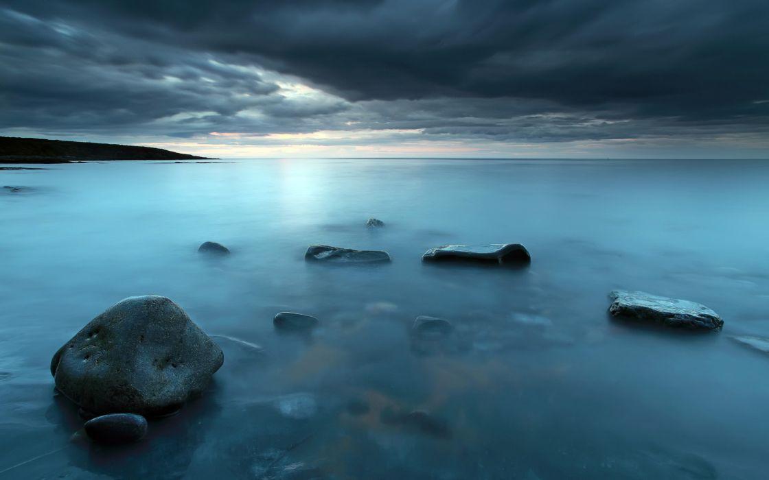 sea aeYaeY night  rocks  landscape ocean sky clouds wallpaper
