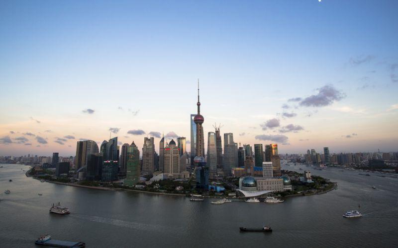 Shanghai Buildings Skyscrapers ships boats bay wallpaper