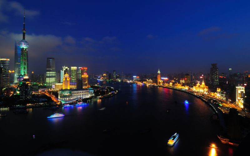 Shanghai Buildings Skyscrapers River Night wallpaper