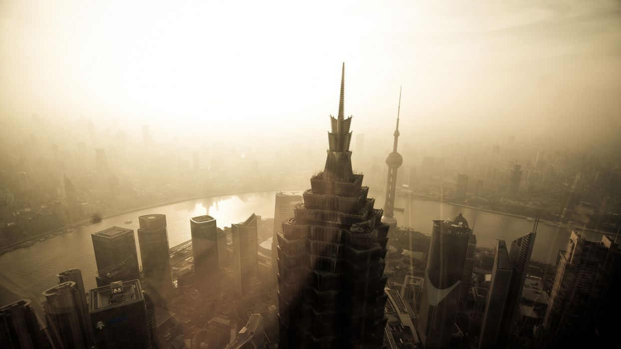 Shanghai Buildings Skyscrapers Sunlight Sepia wallpaper