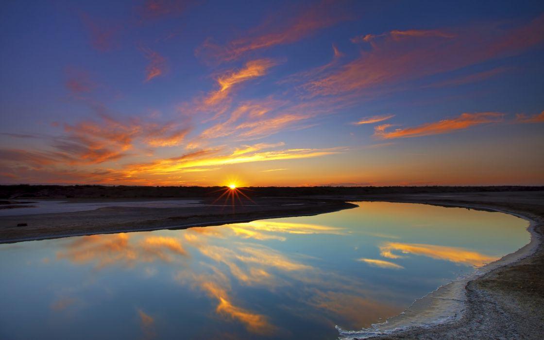 sky  clouds  water  sun river lake reflection sunset sky wallpaper