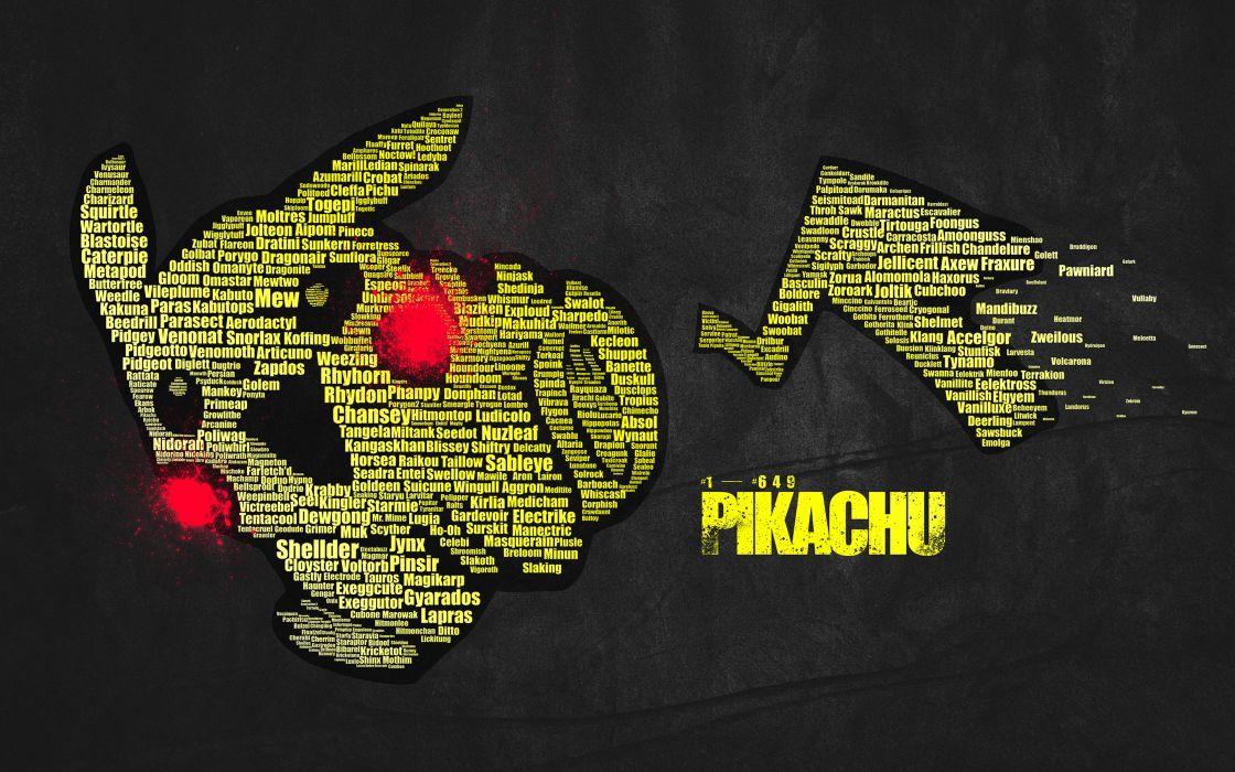 Pokemon Pikachu Typography text wallpaper