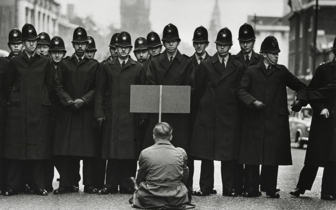 Protest BW Police anarchy people men males retro black white wallpaper