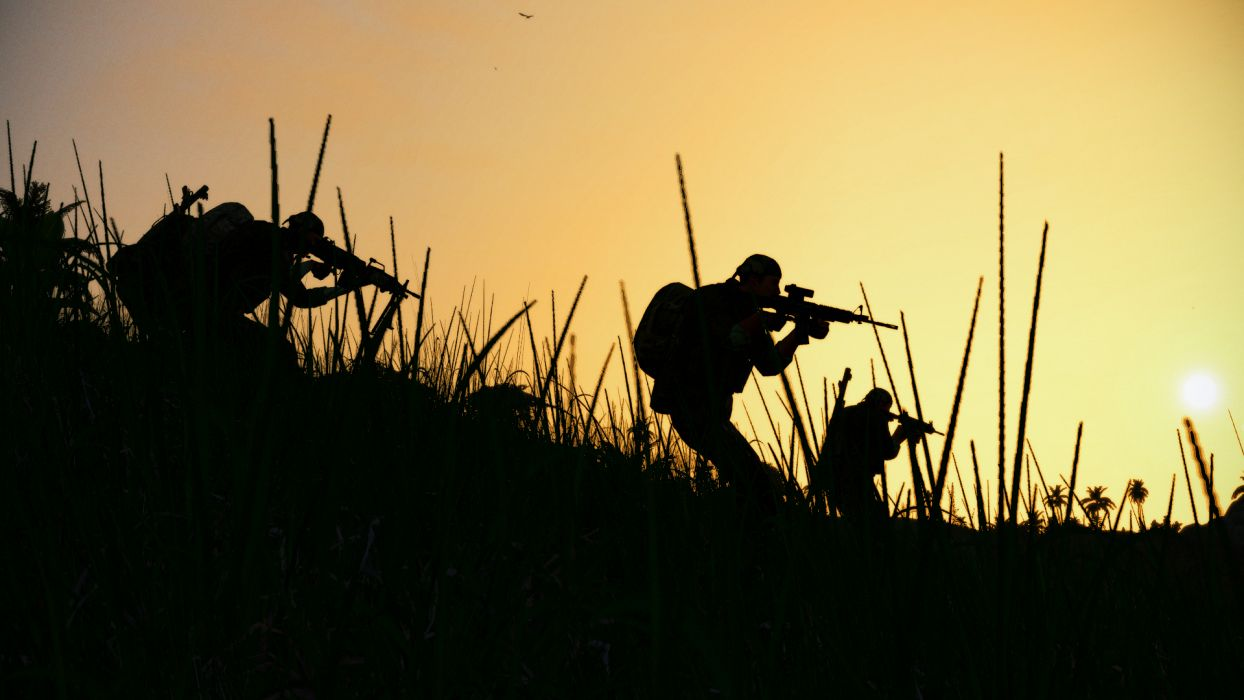 Soldiers Silhouette Military Weapons Guns Wallpaper 1920x1080