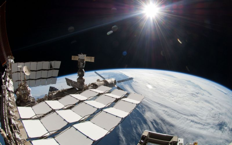 Space Station Earth Planet Starlight wallpaper