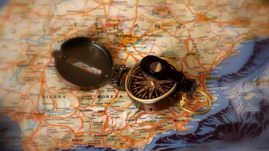 spain map compas travel wallpaper