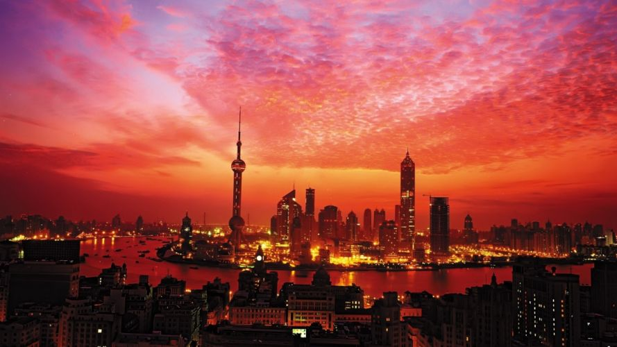 Sunset Buildings Skyscrapers Shanghai sky wallpaper
