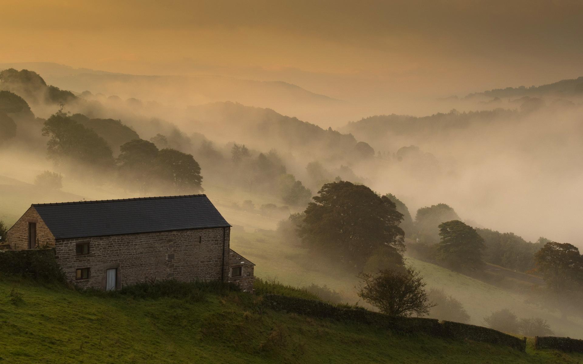 Farmhouse Plan Morning House Field Fog Landscape Wallpaper 1920x1200