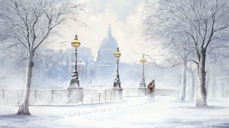 picture Jeff Rowland winter snow boulevard snow street lights two signs trees city buildings cities wallpaper