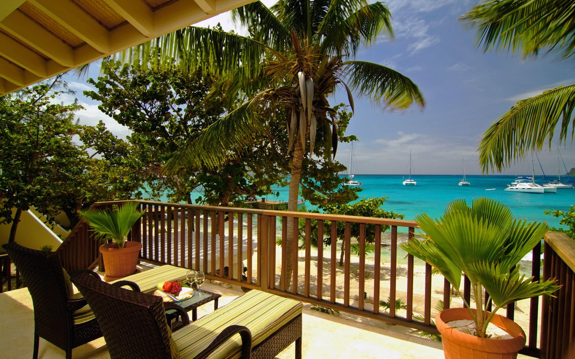 Sea beach terrace balcony view horizon rest relax ocean for Balcony wallpaper