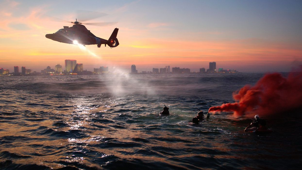 water sea coast guard helicopter military cities people sunset wallpaper