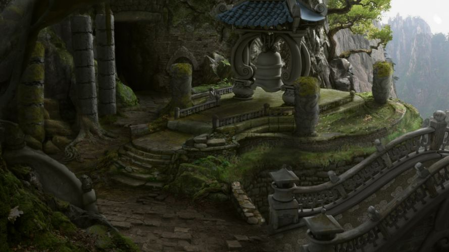 World of Warcraft Mists of Pandaria Concept Art landscape desolation ruins columns mountains rocks bridge wallpaper