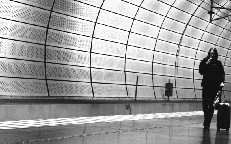 airports monochrome travel tunel people women females girls wallpaper