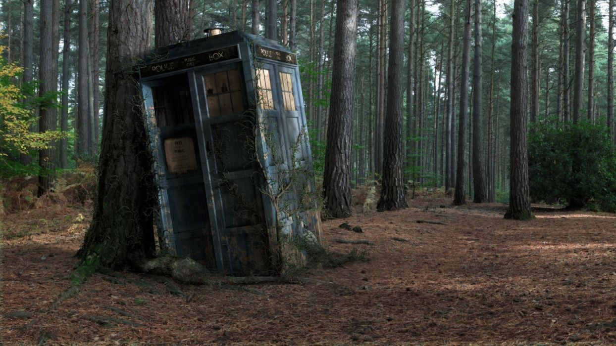Abandoned TARDIS Doctor Who trees forest phone booth wallpaper