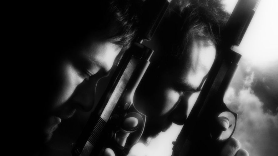 boondock saints monochrome greyscale movies black white men males actor weapons guns pistol wallpaper