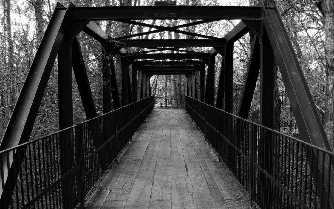 bridges monochrome trees wallpaper
