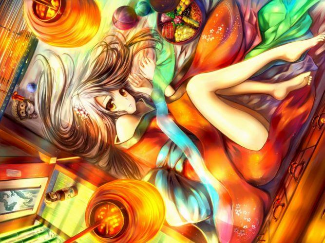brunettes video games touhou flowers indoors food long hair balls lanterns barefoot hakurei reimu wallpaper