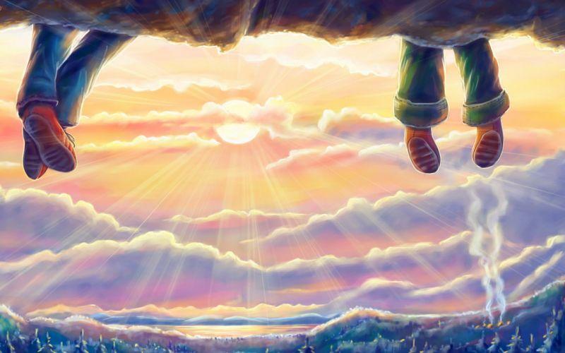 cartoon sunset clouds wallpaper