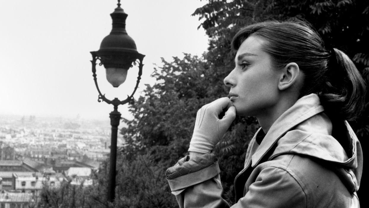 audrey hepburn monochrome actress women females girls babes cities wallpaper