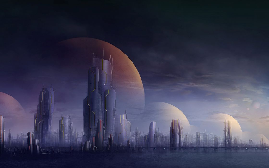 cities futuristic buildings skyscrapers wallpaper