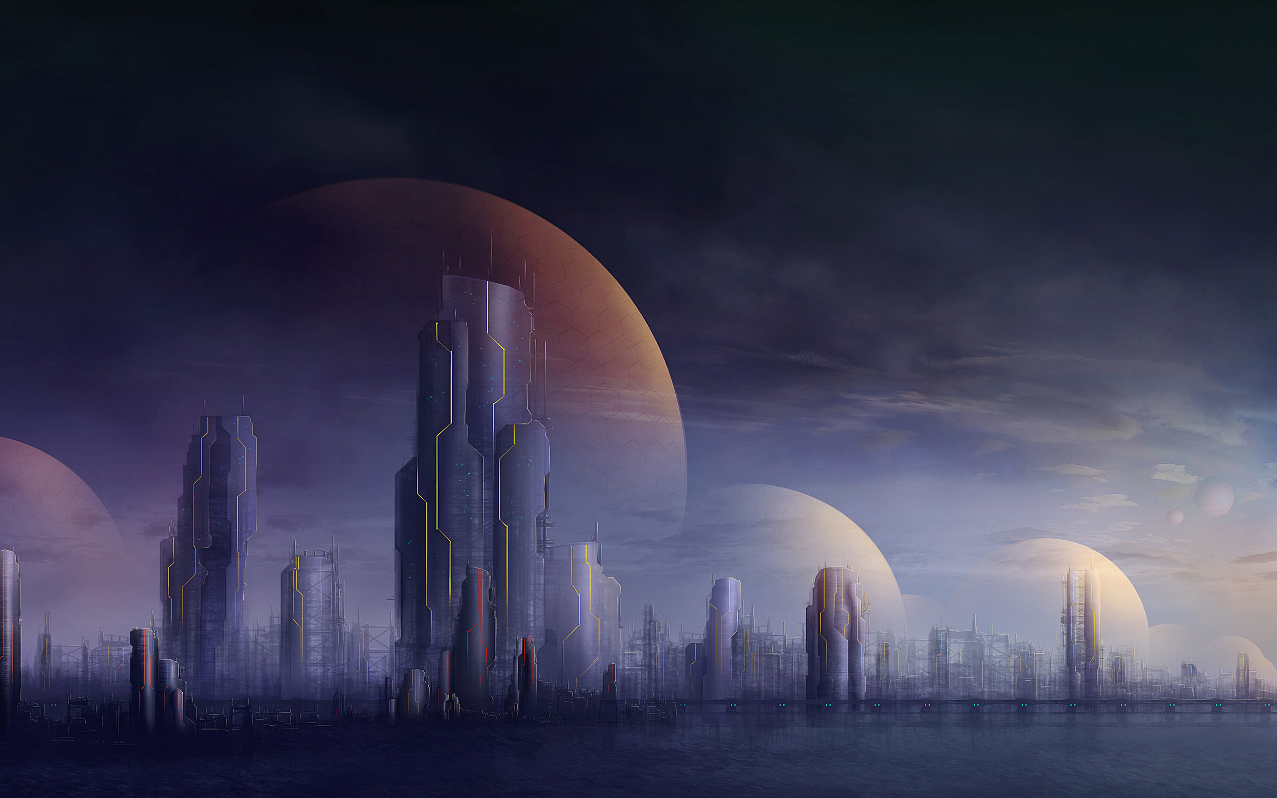 Cities Futuristic Buildings Skyscrapers Wallpaper