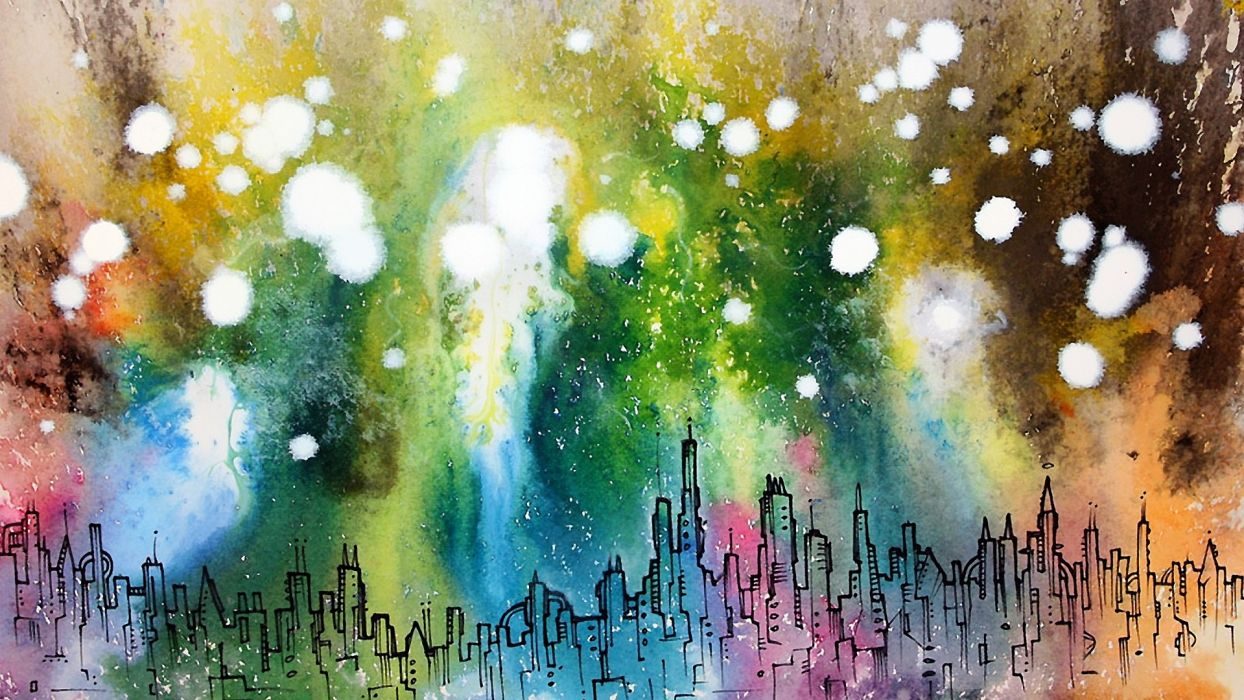 cityscapes artwork abstract cities color spots wallpaper