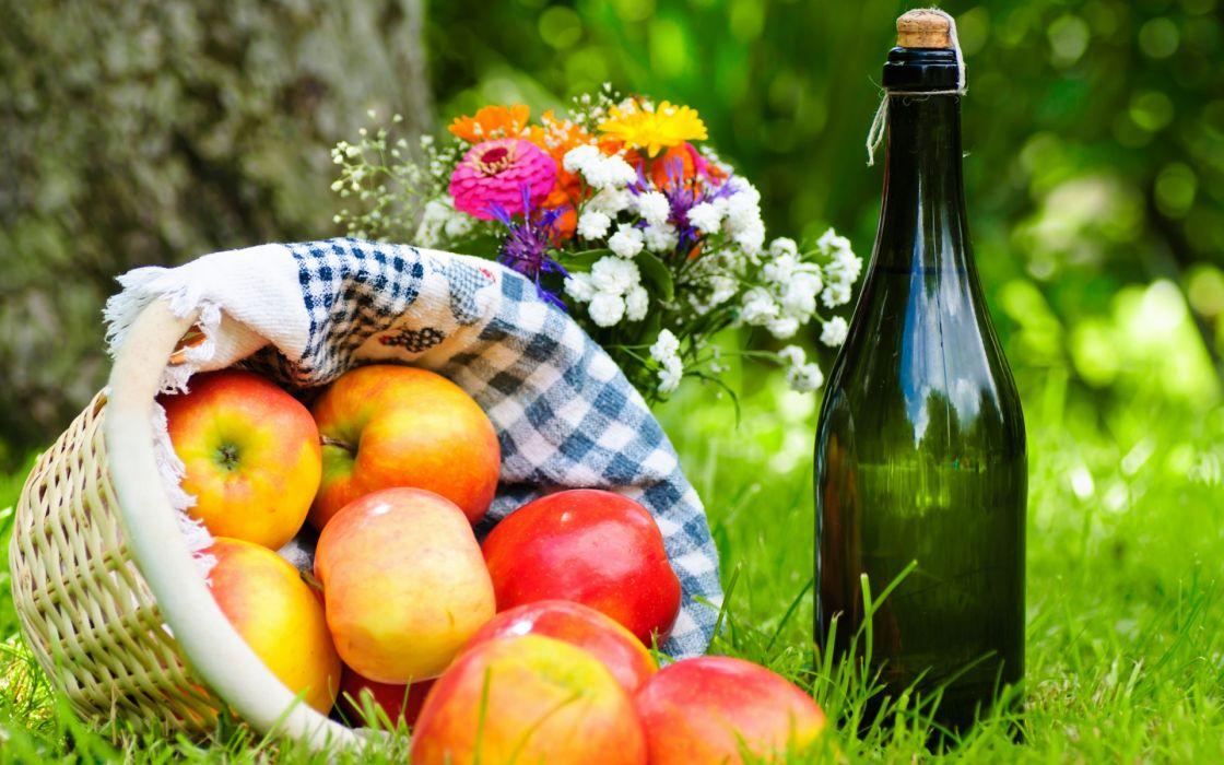 grass  basket  cloth  wine  apples  picnic  bouquet  flowers fruit still life wallpaper