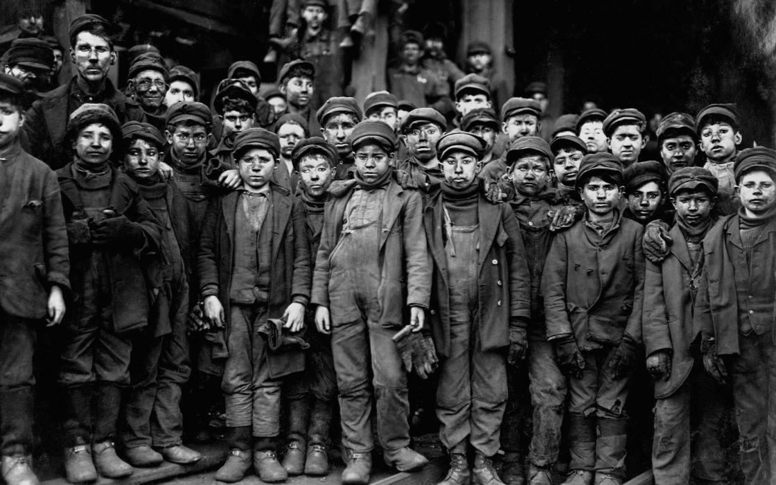 Grayscale Monochrome Historical Men Males Boys Children
