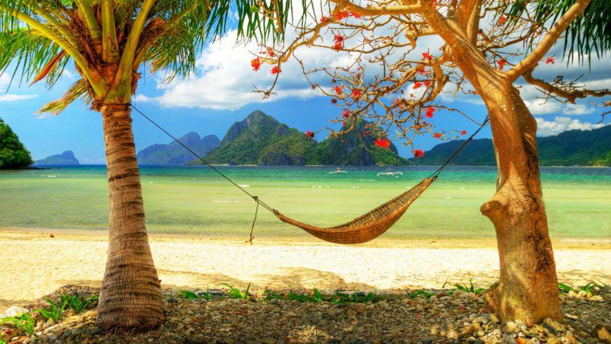 hammock mountains tropics beach sea clouds islands boats trees beaches wallpaper