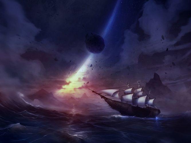 fantasy art ship ocean sky stars sunset wallpaper
