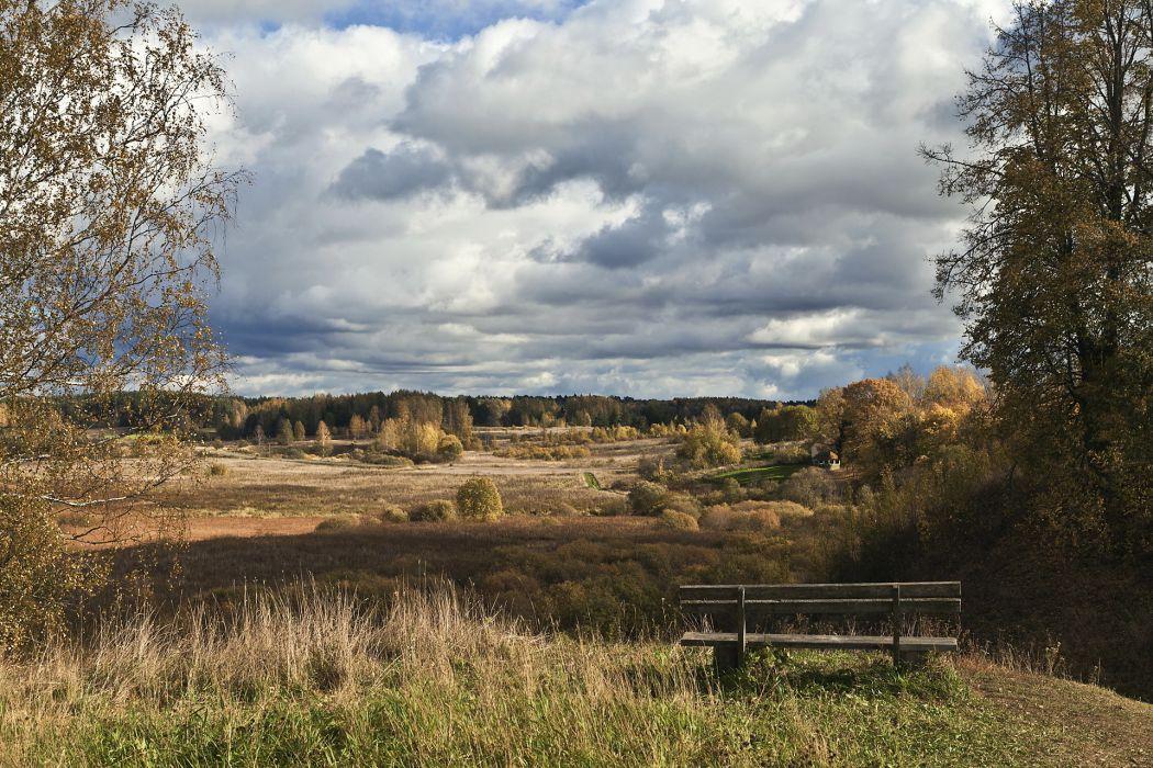 field  bench  landscape sky trees wallpaper