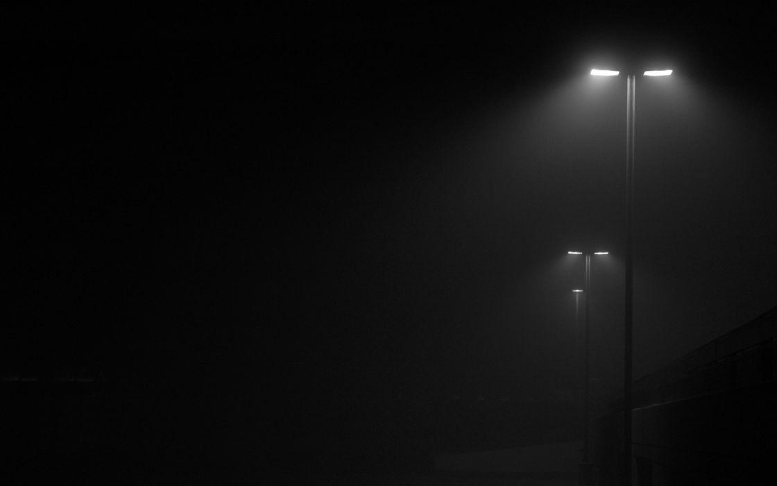 Fog Dark Lamp Post Lights Monochrome Wallpaper