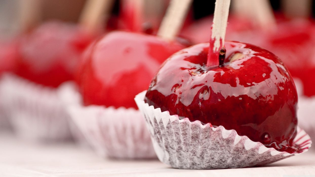 food red cherry syrup candy apple sweets wallpaper