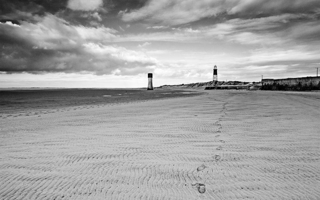 Lighthouse Beach Bw Footprints Clouds Sky Ocean Black White Wallpaper