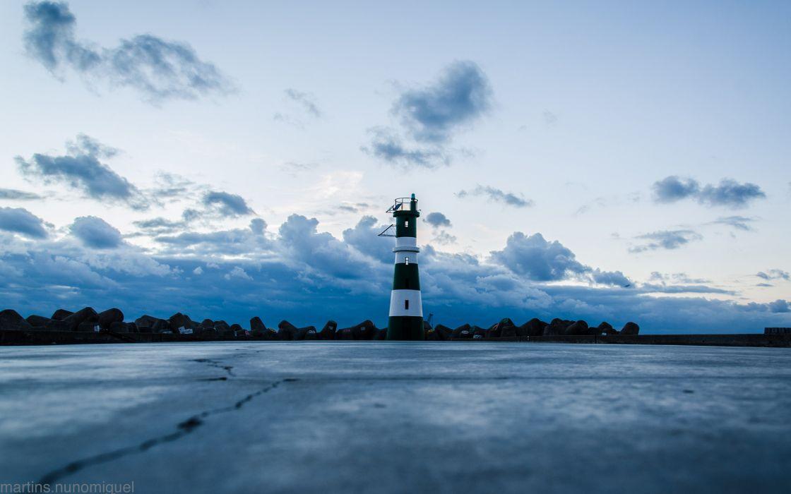 Lighthouse Clouds sky wallpaper