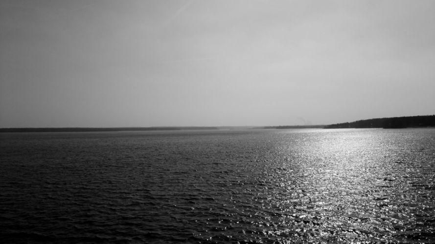 lakes ocean black white sunlight reflection water sky wallpaper