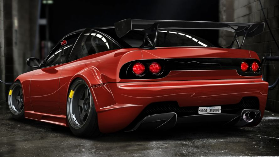 Nissan 240SX Red Rear nissan red tuning body kit wallpaper
